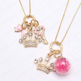 gold pendants children NZ - cute girls fashion crown design pendant necklace diy gold color chain necklace for kids children charm jewelry party