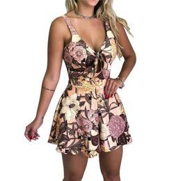 $enCountryForm.capitalKeyWord UK - Summer New Women Loose Jumpsuit Floral Print Sexy Bodysuit Bandage Party Clubwear HOT Rompers Womens Jumpsuit Sleeveless