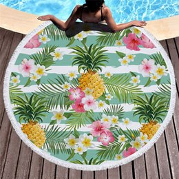 Discount circle beach towels - Microfiber Beach Towel for Adult Yoga Mat Tassel Fruit Blanket Large Round Circle Towel Pineapple Printed Tapestry Home