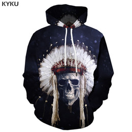3d Hoodies Skull Sweatshirts men  Sweatshirt Printed Feather Hooded Casual America Hoodie Print Cosplay Hoody Anime