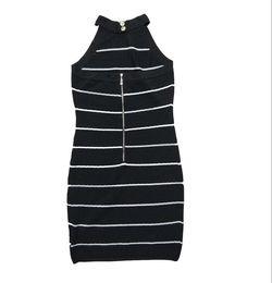 b21162c412 graduation season Holiday summer factory wholesale Hign-End Crew neck  Sleeveless Print Striped knitting Casual Dresses
