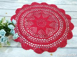 $enCountryForm.capitalKeyWord Australia - 40CM Round Cotton Placemat Crochet Flowers Lace Doily Dining Table Mat Tableware Pad Christmas Drink Coasters Set Kitchen