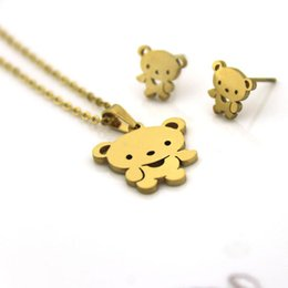 StainleSS Steel bear jewelry wholeSale online shopping - 1 Set Gold Color Stainless Steel Little Bear Jewelry Sets Charms Earrings Necklace Women Girls Kids Christmas Gift