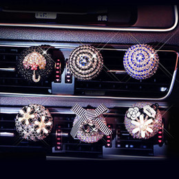 Car Decorations Diamonds Australia - Car Ornament Crystal Diamond Flower Auto Air Condition Vent Perfume Balsam Balm Fragrance Air Freshener Car Interior Decoration