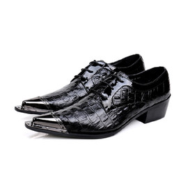$enCountryForm.capitalKeyWord NZ - Hot Black Mens Shoes High Heels Patent Genuine Leather Crocodile Oxfords Steel Pointy Toe Italian Formal Office Mocassin Homme