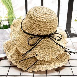 ef96b25e Summer Women Sun Hats Handmade Foldable Straw Hats Casual UV Sun Protection  For Women Fashion Cap Beach chapeau femme ete