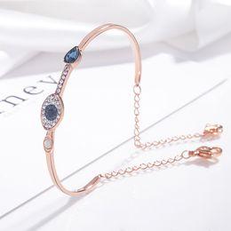 $enCountryForm.capitalKeyWord Australia - Natural crystal evil eye bracelet European and American fashion elegant blue eye 925 sterling silver cuff bracelet women luxury jewelry gift