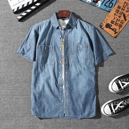 $enCountryForm.capitalKeyWord NZ - 2019 Summer Cozy Pure Cotton Soft Denim Shirt Men's Fashion Clothes Mens Short Sleeve Solid Color Jeans Shirt Holiday Clothing