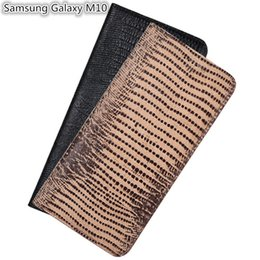 genuine lizard leather UK - Lizard Pattern Genuine Leather Case With Card Slot For Samsung Galaxy M10 Flip Phone Bag For Samsung Galaxy M10 Flip Case Kickstand