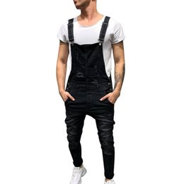 Chinese  Laamei Hi Street Distressed Denim Bib Overalls For Man Suspender Pants Size S-XXXL Fashion Men's Ripped Jeans Jumpsuits manufacturers