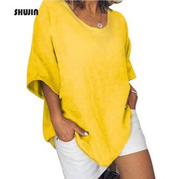 Womens Fitted Tees NZ - SHUJIN 2019 Womens Summer Round Neck Batwing Short Sleeve Loose Tee Shirt Mujer Solid Relaxed Fit Casual Homewear Tops T-Shirt