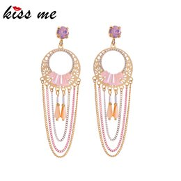 $enCountryForm.capitalKeyWord NZ - Luxury Hollow Round Brass Sheet Layered Chains Tassel Drop Earrings For Women Gold Color Dangle Earring Fashion Accessory
