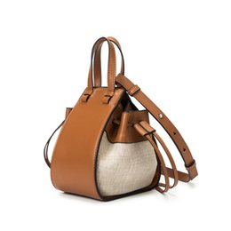 Wholesale Designer Women Handbag Composite Calf Leather Stitch Linen Hammock Mini Bag Caramel Shoulder Crossbody Famous Brand Woman Handbags