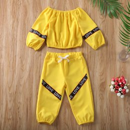 kids tracksuits wholesalers Canada - 2PCS Kid Baby Girl Clothes Off-Shoulder Vest Tops+Long Pants Tracksuit Outfit