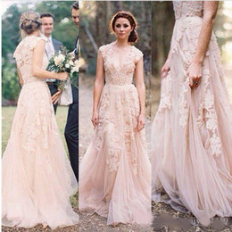 $enCountryForm.capitalKeyWord Australia - 2019 Cheap Country A Line Wedding Dresses V Neck Full Lace Appliques Blush Pink Champagne Long Sweep Train Reem Acra Formal Bridal Gowns