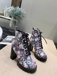 $enCountryForm.capitalKeyWord Australia - 2019 Collection spring fall womens Floral PRINT REAL Leather design LACE UP SHORT BOOTIES platform chunky Rubber HIGH heels ANKLE BOOTS