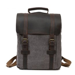 $enCountryForm.capitalKeyWord Australia - Hotsales Vintage Style Men Backpacks made of Genuine Leather and High Quality Canvas Briefcase Attache Case Boys Travel Backpack