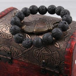 volcanic lava bracelet 2019 - 8 10 12mm Black Lava Natural Stone Beads Bracelets Men Vintage Volcanic Rock Strand Buddha Bracelet Women Pulseira Hombr