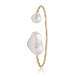 ElEgant pEarl sEt banglEs online shopping - High Quality Charming Gold Pearl Cuff Bangles Simple Style Elegant Metal Bracelet Bangle For Women Accessories