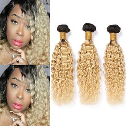 Ombre dyed weave online shopping - B Blonde Ombre Water Wave Human Hair Bundles Ombre Blonde Peruvian Wet and Wavy Virgin Human Hair Weave Extensions