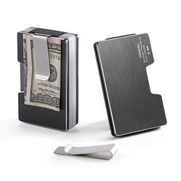 $enCountryForm.capitalKeyWord Australia - Rfid New Aluminum Mini Card Holder Wallet Antimagnetic Metal Men Credit Id Card Case Small Slim Purse With Dollar Clip