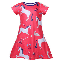 Wholesale unicorns costume for sale - Group buy Girls Rainbow Unicorn Print kids clothes Kids Princess Birthday Party Frock Toddler Cosplay Costume Ice Silk Summer Casual Dresses2