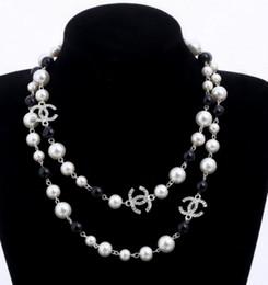 2019 collier de luxe de style 2 couches de perles chandails colliers designer libre dame parfum numéro 5 femmes collier sans cou collares en Solde