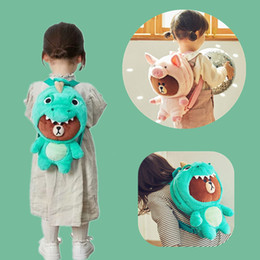 Brown Bear Backpack Australia - Brown bear Plush Bag Backpack dinosaur dressing Totoro Pig Plush Toy Bag Gift School Kids Toy Birthday Gift Girl