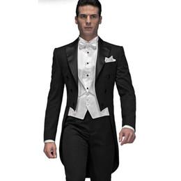 Dark Green Tie Grey Suit Australia - Custom Made Black Groom men suit Tailcoat 2019 terno slim fit Groomsman Mens Wedding Prom Suits (Jacket+Pants+Vest+Bow Tie)