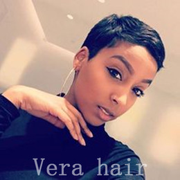 $enCountryForm.capitalKeyWord Australia - 100% Human Hair Short Wig for Black Women African American Pixie Wigs Black Straight Hair Wig With Side Bangs None lace wigs