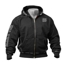 Thin Bodybuilding Hoodies Australia - Thin Fitness Hooded Sweatshirt Black Big Pocket Hoodie Men Bodybuilding Gym Sweatshirt For Men Zipper Long Sleeve Hoodies T5190617