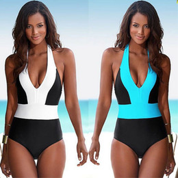 Discount one shoulder swimwear for women - 2017 Sexy One Piece Swimsuit Bandage For Women Solid White and Blue One shoulder Cut Out Monokini Swimwear Bathing Suit