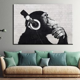$enCountryForm.capitalKeyWord Australia - 1 Piece Custom Canvas Poster Steez Monkey Headphone Posters Home Decoration Oil Paintings Art For Livingroom Wall No Framed