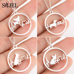 $enCountryForm.capitalKeyWord Australia - Cartoon Dog Pendant Necklace For Women Fashion German Shepherd Jewelry Heartbeat Paw Choker Necklace Chain For Kids