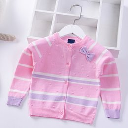 Wholesale 2019 Spring Autumn Knitted cardigan Girls Sweater Bow Children Clothing Baby Long sleeve Striped Coat warm Kids Clothes jacket