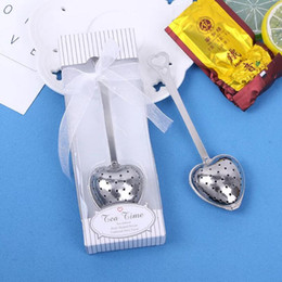 Wholesale Fedex DHL Heart Shape TeaTime Heart Tea Infuser Spoon With retial box For Weeding Party gift LX6375