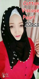Cotton Viscose Scarves Australia - W1 High quality Pearl Cotton viscose scarf scarves hijab shawl 180*90cm women wrap headband 20pcs lot