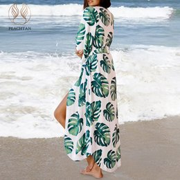 6076c0a9983fe Peachtan Palm leaf print bikini cover up Long tunic beach dress Sexy swimsuit  cover-ups Fashion 2019 new saida de beach sarong
