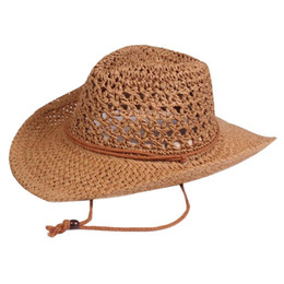 up brim straw hat Australia - Women Men Hollowed Out Casual Cowboy Hat Weaving Beach Foldable Straw Paper Summer Solid Wide Brim Sun Proof Travel With Roll Up