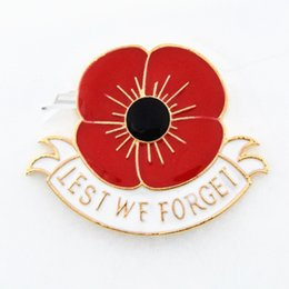 Wholesale quot Lest We Forget quot Enamel Red Poppy Brooch Pin Badge Golden Flower brooches pins Remembrance Day Gift DHL