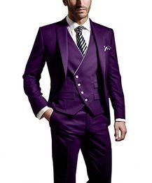 Dark Green Tie Grey Suit Australia - New Style Groom Tuxedos Purple Groomsmen Peak Lapel Best Man Suit Wedding Men Suits Bridegroom Blazer (Jacket+Pants+Tie+Vest) A9