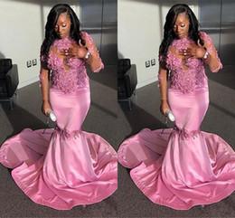 high neck satin silver dress 2019 - South African Long Sleeve Pink Prom Dresses Long 2019 Mermaid High Neck Applique Sequins Long Junior Graduation Gowns Ev