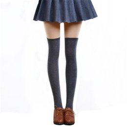 Socks Thigh Highs NZ - 1 Pair 5 Solid Colors Fashion Sexy Warm Thigh High Over the Knee Socks Long Cotton Stockings For Girls Ladies Women