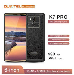"OUKITEL K7 Pro 4G RAM 64G ROM Smartphone Android 9.0 MT6763 Octa core 6.0"" FHD + 18: 9 Phone Big Screen10000mAh impronte mobile in Offerta"