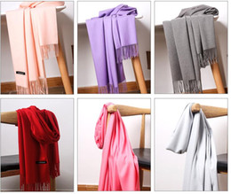 customized scarves NZ - Men and women autumn and winter solid color shawl cashmere scarf long paragraph can be customized LOGO warm thick wool scarf