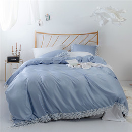 king queen size beds NZ - Cotton Tencel-like Lace Beddingset Queen King Size Beddingset 3 PCS(1 Duvet Cover+2 Pillowcases) Home Textiles Comforter Bedding Sets