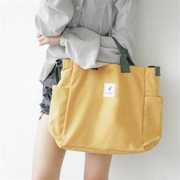 $enCountryForm.capitalKeyWord NZ - 2019 Literary Canvas Cross-Body Bag Female Hit Color Handbag Casual Wild Canvas Eco-friendly Shopping Bag Shoulder