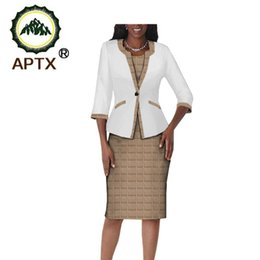three quarter length sleeve women tops NZ - 2020 autumn african clothes women 2-pieces suit APTX three quarter sleeve single button top+knee-length dress suit T722656