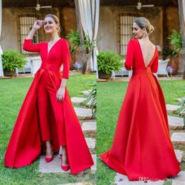 Deep Neck Suit Australia - FAshon REd Jumpsuit Formal Evening Dresses Sexy deep V Neck Satin 3 4 Long sleeveless Prom Dresses Of suit