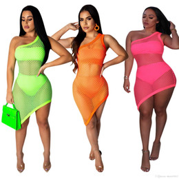 crew underwear NZ - HISIMPLE 2019 Fashion 3 Pieses Set Large Mesh Dress One Shoulder Hollow Out Dress + Crop Tops +Underwear Sexy Ladies Beach Wear Casual Dress